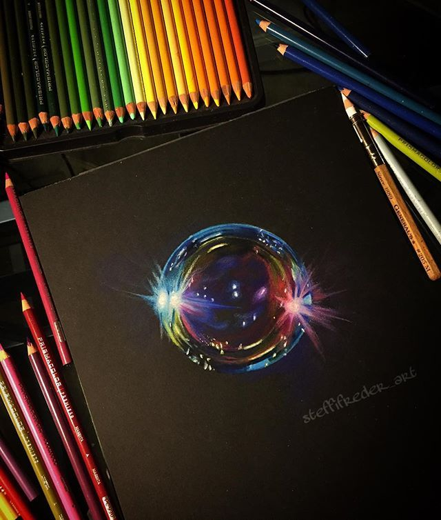 colored pencil on black paper tutorial