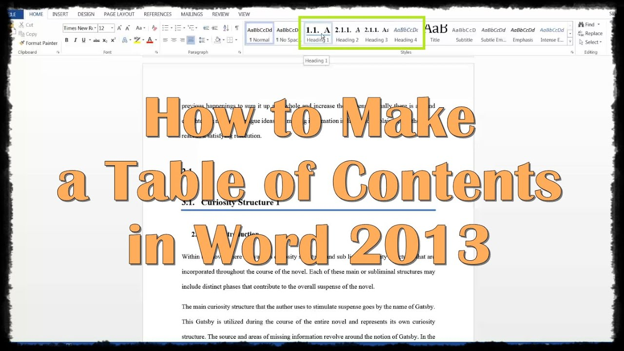 word 2013 table of contents tutorial